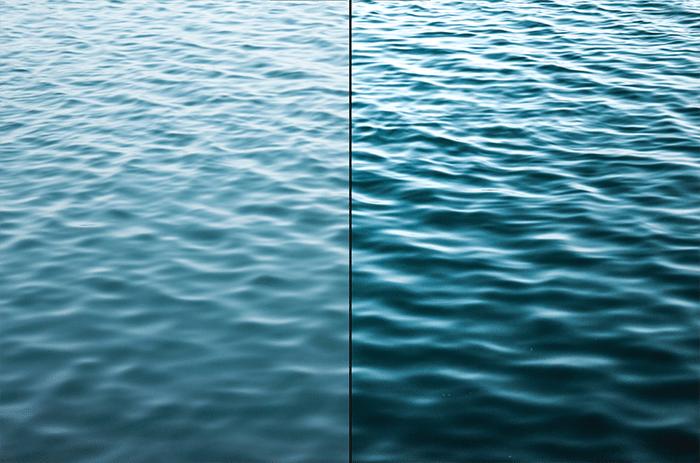 Díptico Fotografía de textura de ondas en el océano