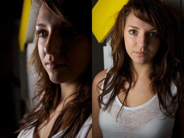 Dos imágenes de una niña, donde se iluminan las mitades de sus rostros - Fotografía de retrato
