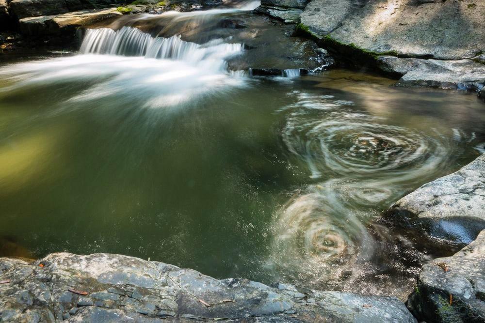 Foto de una pequeña cascada en un río que muestra la técnica de larga exposición