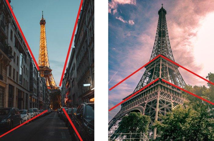 comparación entre la perspectiva de uno y dos puntos, utilizando imágenes de la torre eiffel