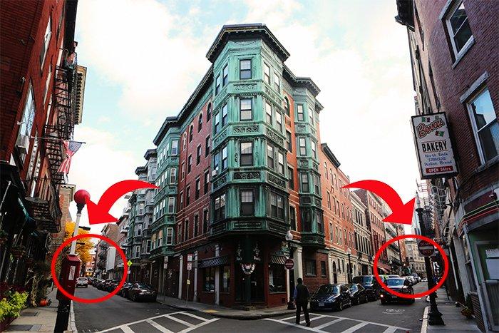 foto de un edificio con flechas que muestran los dos puntos de fuga