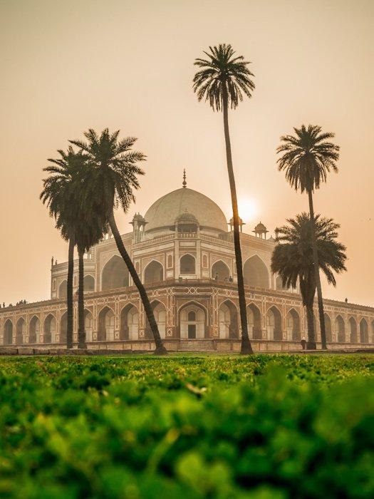 El taj-mahal en la India, tomado con perspectiva de dos puntos