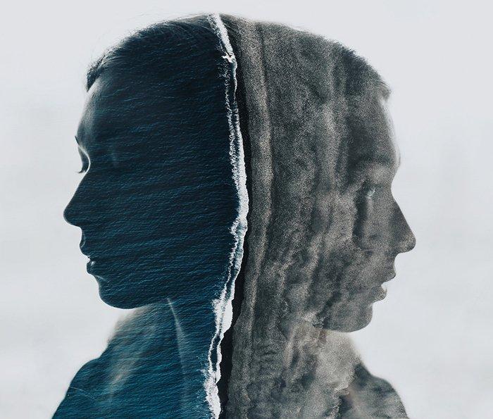 Un retrato genial de doble exposición con mucha textura en la fotografía.